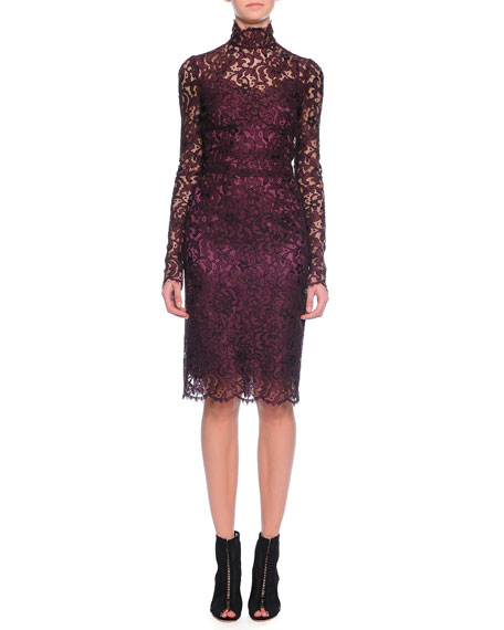 Floral-Lace Scalloped Sheath Dress, Aubergine