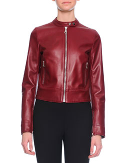 Glossy Leather Moto Jacket