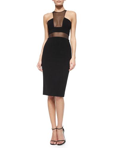 Sheer Panel Stretch Knit Sheath Dress, Black