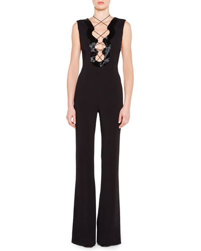 Beaded Lace-Up Keyhole Jumpsuit