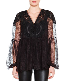 Lace Tie-Front Peasant Blouse, Black