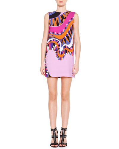 Sleeveless Wave-Print Tunic Dress
