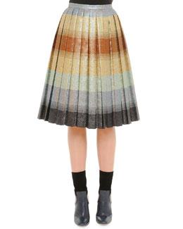 Pleated Degrade Lurex Midi Skirt