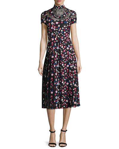 Pleated Garden-Print Mock-Neck Dress, Black