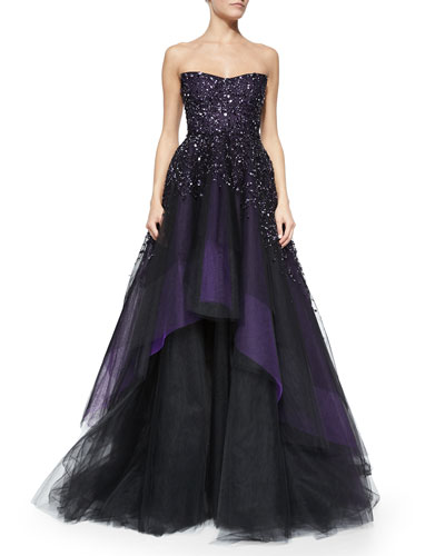 Strapless Degrade Embroidered Ball Gown, Plum
