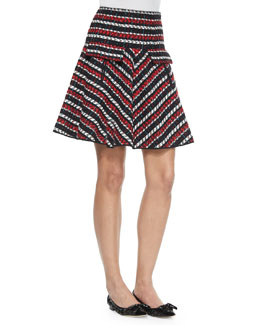 Striped A-Line Skirt, Red Multi