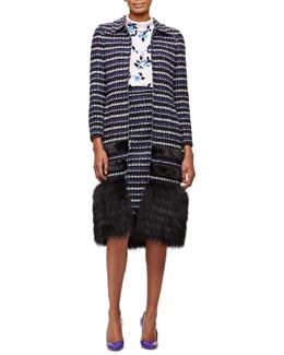 Striped Coat with Mink & Fox Fur Trim