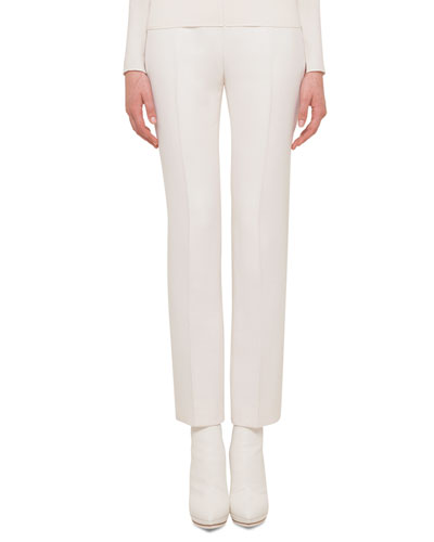 Carlota Double-Faced Straight-Leg Pants
