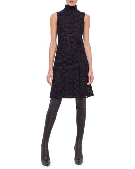 Wool Way-Print Embroidered-Tulle Sleeveless Dress, Black