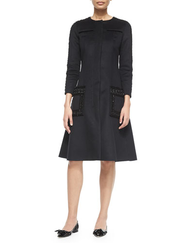 Long-Sleeve Wool/Cashmere Embellished Dress