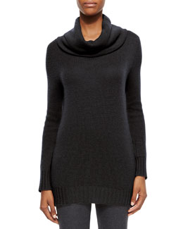 Cashmere Lipstick-Pocket Cowl-Neck Sweater, Black