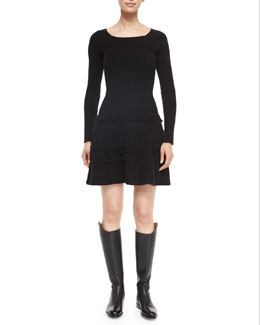 Cashmere-Blend Ribbed Fringe-Trimmed Sweaterdress
