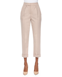 Bella Pleated Cuffed Tapered Pants