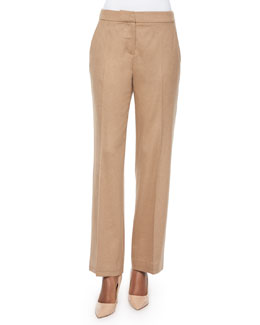 Pescia Camel Hair Straight-Leg Pants