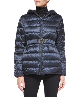 Reversible Stripe-Quilted Short Down Coat
