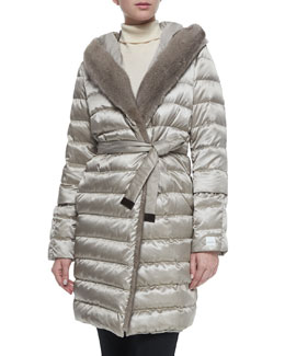 Fur-Trimmed Quilted Mid-Length Puffer Coat