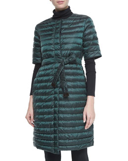 Stripe-Quilted Dress-Style Down Puffer Coat