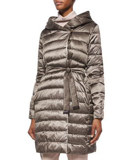 Hooded Stripe-Quilted Reversible Down Coat