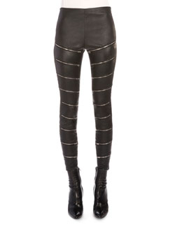 Zip-Slit Leather Pants, Black