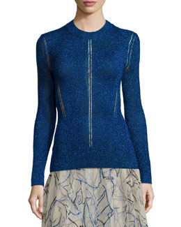 Shimmer Hemstitched Knit Sweater, Blue