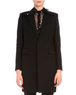 Velvet-Trimmed Collar One-Button Coat