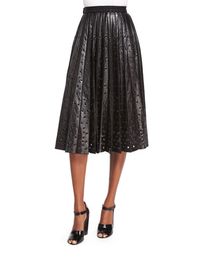 Grommet-Detailed Leather Midi Skirt