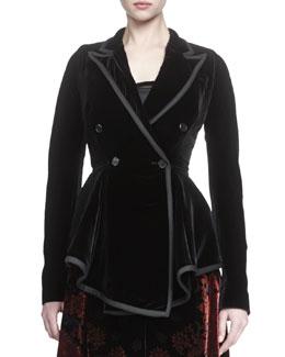 Asymmetric Double-Breasted Velvet Peplum Jacket
