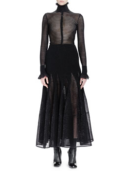 Long-Sleeve Ladder-Stitch Dress, Black Metallic