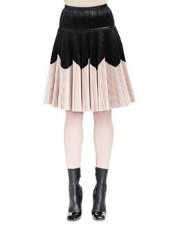 Plisse Colorblock Leather Skirt