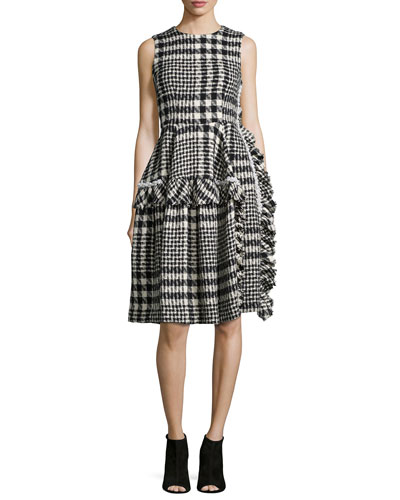 Plaid Tweed Pearly-Detailed Ruffled Dress