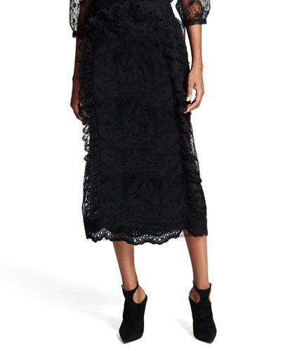 Sheer Floral-Lace Pencil Skirt, Black