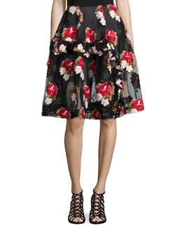 Floral-Embroidered Asymmetric Ruffle Skirt