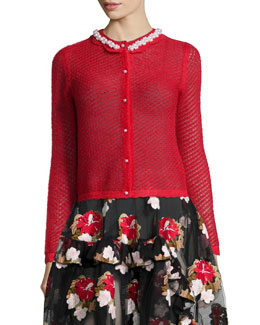 Scalloped Pearly-Collar Open-Knit Cardigan, Red