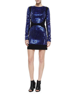 Embellished Long-Sleeve Mini Dress, Indigo/Black