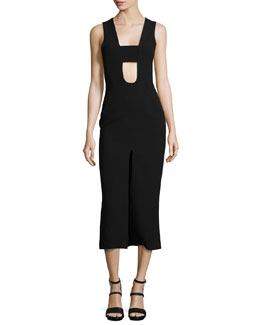 Cutout Slit-Front Midi Dress