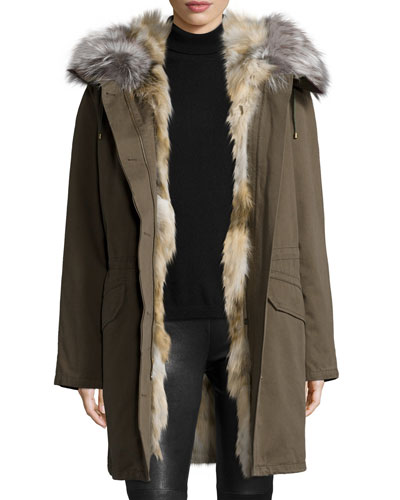 Fur-Lined Zip-Front Parka Coat, Khaki