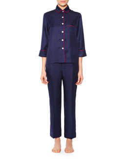 Contrast-Piped Silk Satin Pajama Set