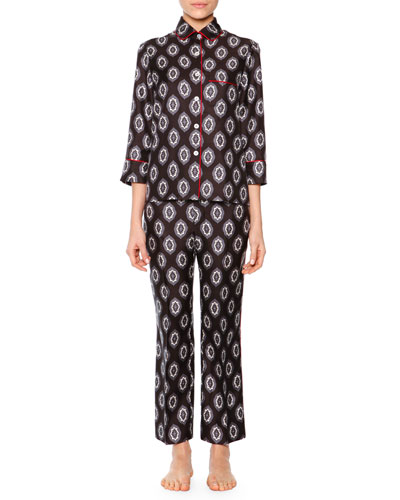 Damask-Print Contrast-Piped Silk Satin Pajama Set