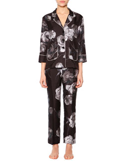 Floral-Print Two-Pocket  Satin Pajama Set