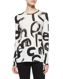 Brushstroke Text-Print Slub-Knit Tee, White/Black
