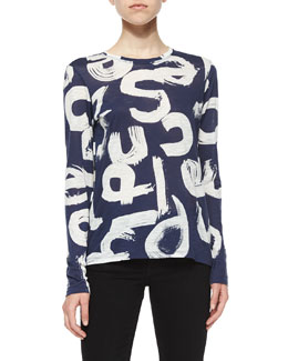 Brushstroke Text-Print Slub-Knit Tee, Navy/White