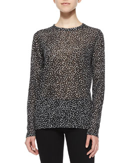 Dotted Slub-Knit Tee, Black/White