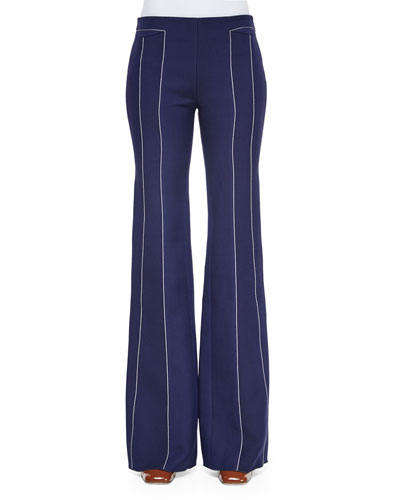 Stitched Seam-Detailed Wide-Leg Pants