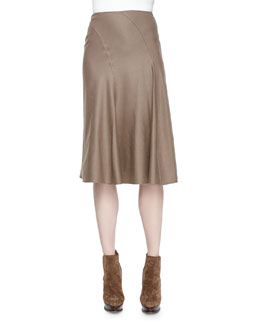 Cassandra Worsted-Wool Skirt, Truffle