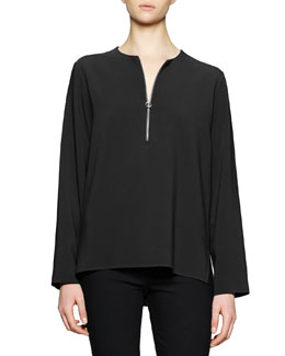 Zip-Front Long-Sleeve Blouse, Black