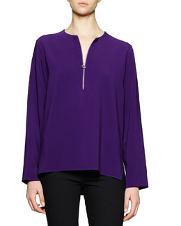 Zip-Front Long-Sleeve Blouse, Purple