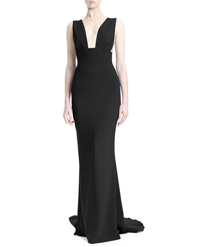 Kimberly Plunging Sleeveless Godet Gown, Black