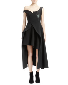 Asymmetric Open Peplum Layered Dress