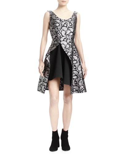 Paisley Asymmetric-Hem Dress
