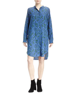 Paisley Crepe Button-Front Shirtdress